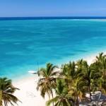 Beautiful tropical  beach at the Caribbean island